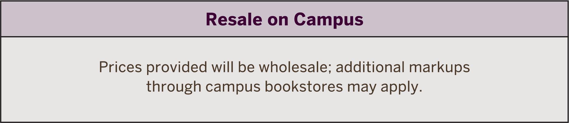 public announcement concerning resale price increase at campus bookstores