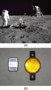 Picture (a) shows the lunar expedition with the astronauts and their space shuttle. Picture (b) shows rectangular and round shaped bicycle reflectors.