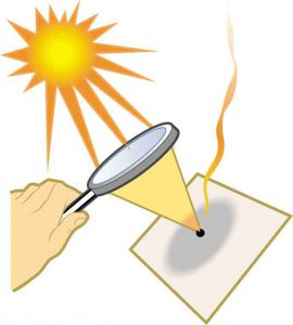 A person's hand is holding a magnifying glass to focus the sunlight to a point. The magnifying glass focuses the sunlight to burn paper.