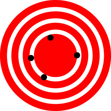 A pattern similar to a dart board with few concentric circles shown in white color on a red background. In the innermost circle, there are four black points on the circumference showing the positions of a restaurant. They are far apart from each other.