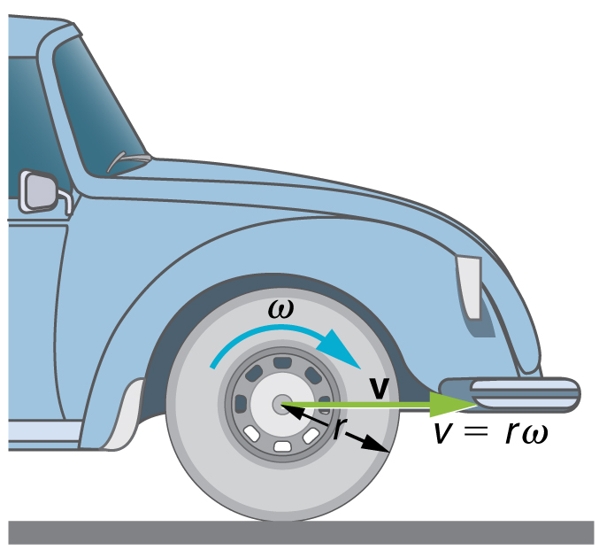 The given figure shows the front wheel of a car. The radius of the car wheel, r, is shown as an arrow and the linear velocity, v, is shown with a green horizontal arrow pointing rightward. The angular velocity, omega, is shown with a clockwise-curved arrow over the wheel.