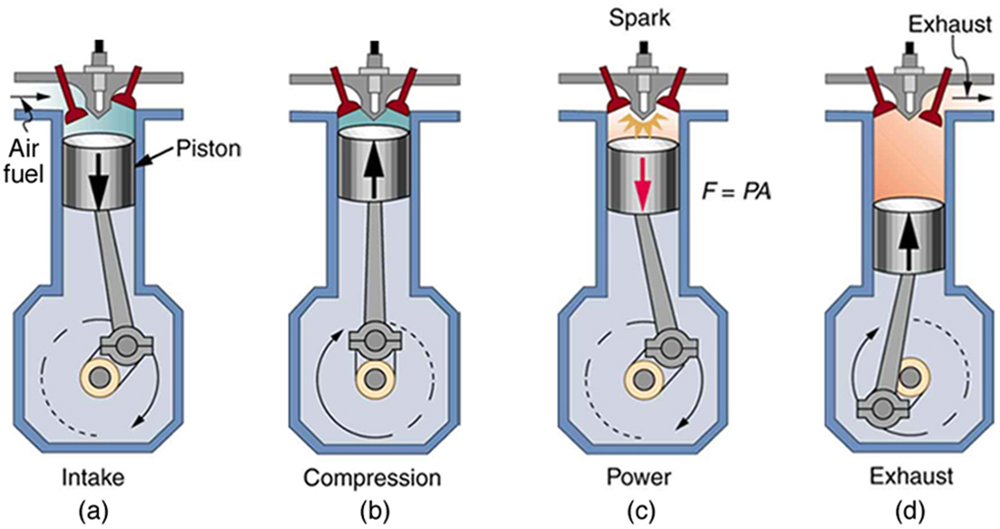 The figure shows four diagrams a, b, c, and d representing four stages of a four stroke gasoline engine. The construction of the engine has the base chamber whose cross section is in the shape of a square with flat corners, the top portion of the chamber is extended into a cylindrical section. The cylindrical section ends in the upper section with two valves, an inlet and an outlet. The cylindrical section has a movable cylinder with a piston attached to it. The piston is connected to the crank shaft in the base gas chamber. There is a spark plug on the top most part of the cylinder between the two valves. The four parts of the diagram show various stages of this four stoke engine. Part a of the diagram shows the air fuel mixture enters through the inlet valve in the upper section of the engine. The outlet valve is shown to be closed. The air and fuel is shown to exert a pressure on the piston acting downward. This force is shown to move the rotating crank shaft in clockwise direction in the gas chamber. This is the intake stroke. Part b of the diagram shows the compression stroke. Both the inlet and outlet valves are closed. The air and fuel mixture is shown to be compressed. The piston is shown to rise up as shown by a vertically pointing arrow. The piston is at the edge of the cylinder near the valves. The crankshaft in the gas chamber has shown to complete one complete cycle of rotation in the gas chamber. Part c of the diagram shows the power stroke. It has two parts, first the ignition stroke. This shows ignition of the fuel in the cylinder and pressure buildup in the region. Then in the second part the piston is shown to descend down the cylinder moving the crankshaft in the gas chamber in the clockwise direction. Part d of the figure shows the exhaust stroke. The piston expels the hot gas by moving upward and the gas is expelled through the exhaust valve.