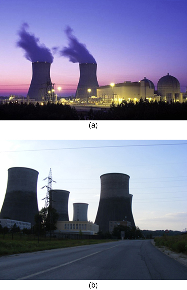 Part a shows a photograph of an operational nuclear power plant in night view. There are dome shaped structures which house radioactive material and vapors are shown to come from two cooling towers. Part b shows a photograph of a coal fired power plant. Several huge cooling towers are shown.