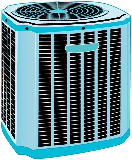 A residential heat pump.