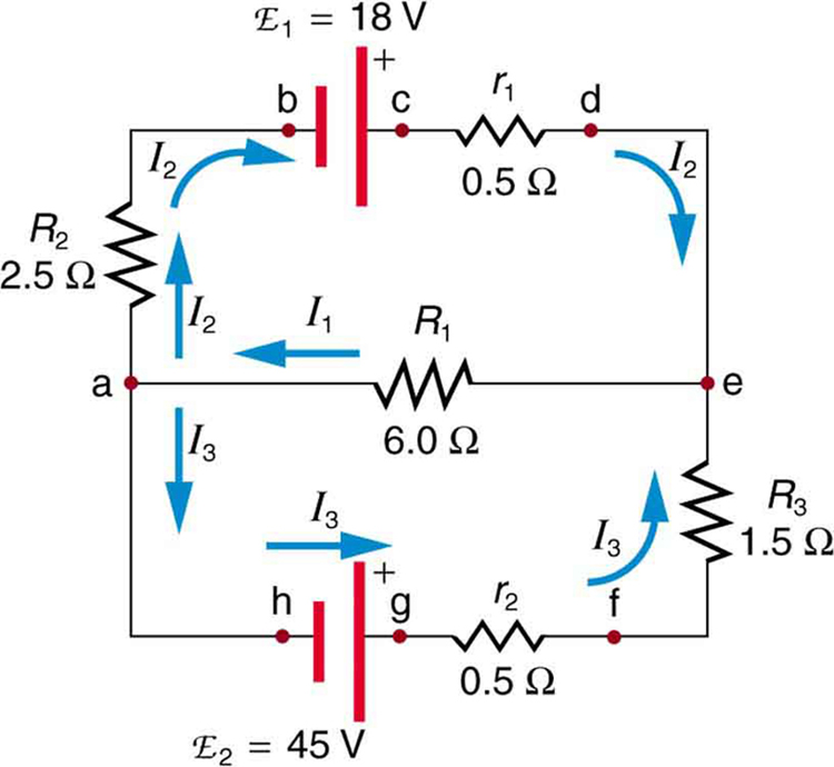 The diagram shows a complex circuit with two voltage sources E sub one and E sub two and several resistive loads, wired in two loops and two junctions. Several points on the diagram are marked with letters a through h. The current in each branch is labeled separately.