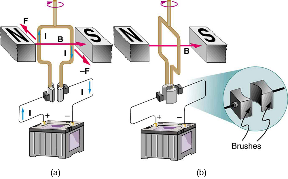 The diagram shows a current-carrying loop between the north and south poles of a magnet at two different times. The north pole is to the left and the south pole is to the right. The magnetic field runs from the north pole to the right to the south pole. Figure a shows the current running through the loop. It runs up on the left side, and down on the right side. The force on the left side is into the page. The force on the right side is out of the page. The torque is clockwise when viewed from above. Figure b shows the loop when it is oriented perpendicular to the magnet. In both diagrams, the bottom of each side of the loop is connected to a half-cylinder that is next to a rectangular brush that is then connected to the rest of the circuit.