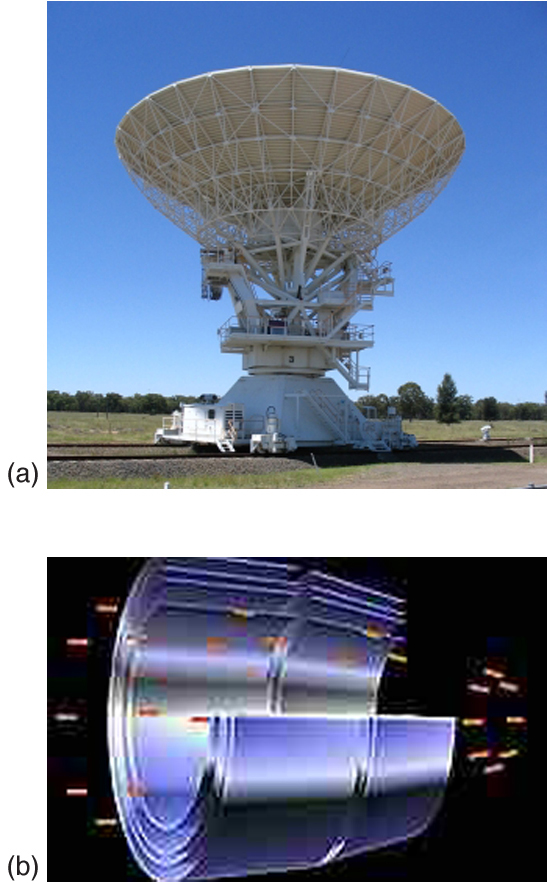 Image a is a photograph one of the antennas from the Australia Telescope Compact Array. Image b is a cutaway diagram showing 4 nested sets of hard x-ray mirrors of the Chandra X-ray observatory.