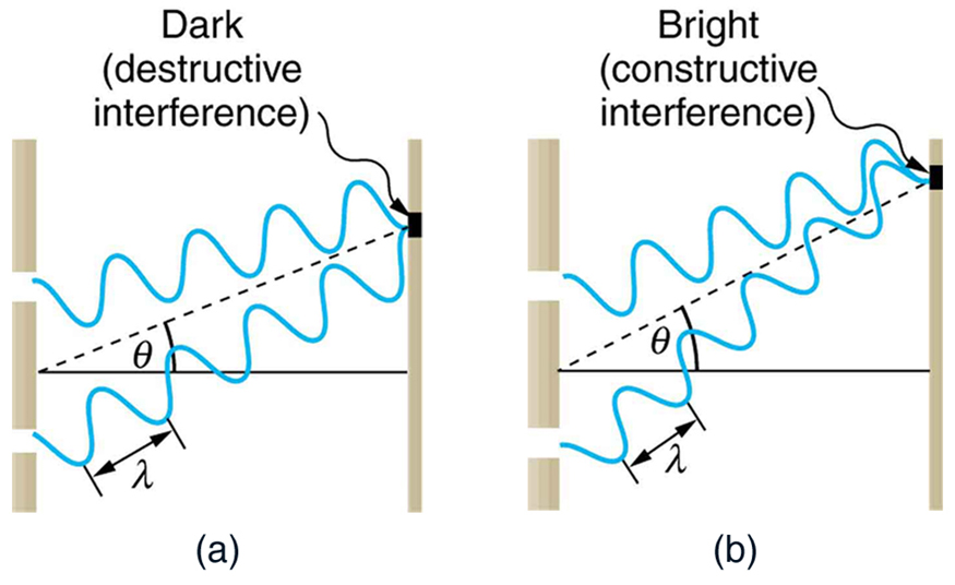 Both parts of the figure show a schematic of a double slit experiment. Two waves, each of which is emitted from a different slit, propagate from the slits to the screen. In the first schematic, when the waves meet on the screen, one of the waves is at a maximum whereas the other is at a minimum. This schematic is labeled dark (destructive interference). In the second schematic, when the waves meet on the screen, both waves are at a minimum.. This schematic is labeled bright (constructive interference).