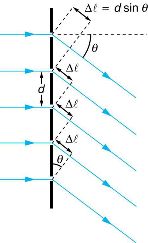 The figure shows a schematic of a diffraction grating, which is represented by a vertical black line into which are cut five small gaps. The gaps are evenly spaced a distance d apart. From the left five rays arrive, with one ray arriving at each gap. To the right of the line with the gaps the rays all point down and to the right at an angle theta below the horizontal. At each gap a triangle is formed where the hypotenuse is length d, one angle is theta, and the side opposite theta is labeled delta l. At the top is written delta l equals d sine theta.