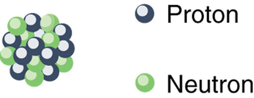 This figure shows group of small green and blue spherical objects placed very close to each other forming a bigger sphere representing the nucleus. Blue spheres are labeled as protons and green spheres are labeled as neutrons.