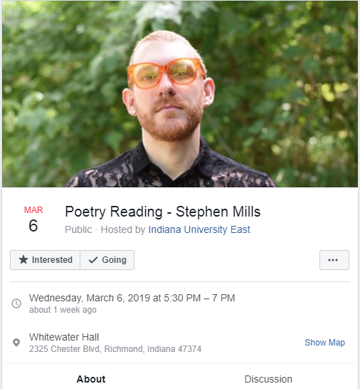 Facebook screen shot of Stephen Mills poetry reading for March 6, 2019 from 5:30-7 pm. Features picture of Mills, wearing a black lace shirt and orange tinted glasses.