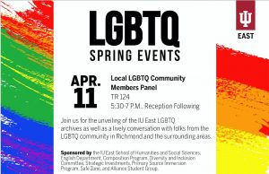 Flier for IU East LGBTQ Community Panel, April 11th 2019.