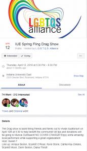 Facebook event screenshot of LGBTQS Alliance at IU East Spring Fling Drag Show, April 12, 2018.
