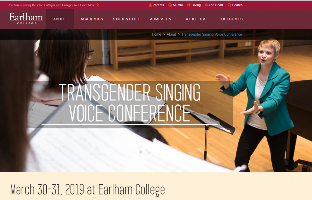 screen capture from Earlham College website of the Transgender Singing Voice Conference. Photo contains organizer Danielle Cozart-Steele conducting choir.