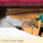 Image of promotional website for Earlham College Transgender Singing Voice Conference, March 2019.