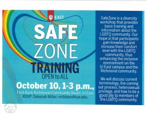 Image of Safe Zone Training flier. Flier states: Safe Zone Training Open to All, October 10 (2019) from 1-3 pm in the First Bank Richmond Community Room, IU East. RSVP to Deborah Miller