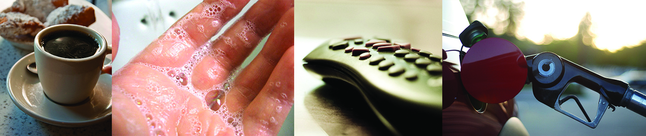A photo collage shows a cup of black coffee, a hand covered in foamy soap, a remote control, and a gasoline pump nozzle inserted into a vehicle's gas tank.