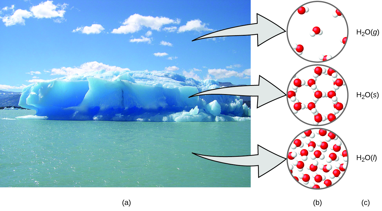 Figure A shows a photo of an iceberg floating in a sea has three arrows. Each arrow points to figure B, which contains three diagrams showing how the water molecules are organized in the air, ice, and sea. In the air, which contains the gaseous form of water, H subscript 2 O gas, the water molecules are disconnected and widely spaced. In the ice, which is the solid form of water, H subscript 2 O solid, the water molecules are bonded together into rings, with each ring containing six water molecules. Three of these rings are connected to each other. In the sea, which is the liquid form of water, H subscript 2 O liquid, the water molecules are very densely packed. The molecules are not bonded together.