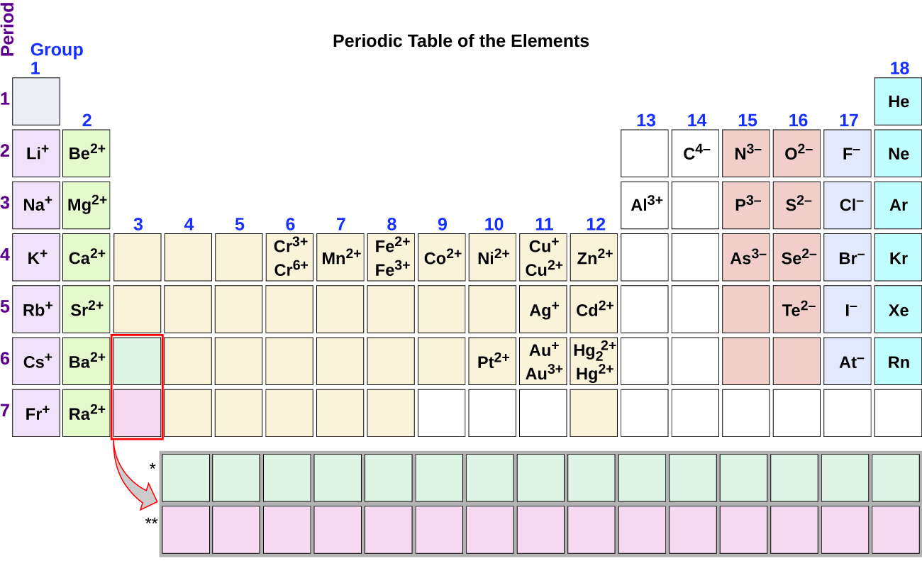 Group one of the periodic table contains L i superscript plus sign in period 2, N a superscript plus sign in period 3, K superscript plus sign in period 4, R b superscript plus sign in period 5, C s superscript plus sign in period 6, and F r superscript plus sign in period 7. Group two contains B e superscript 2 plus sign in period 2, M g superscript 2 plus sign in period 3, C a superscript 2 plus sign in period 4, S r superscript 2 plus sign in period 5, B a superscript 2 plus sign in period 6, and R a superscript 2 plus sign in period 7. Group six contains C r superscript 3 plus sign and C r superscript 6 plus sign in period 4. Group seven contains M n superscript 2 plus sign in period 4. Group eight contains F e superscript 2 plus sign and F e superscript 3 plus sign in period 4. Group nine contains C o superscript 2 plus sign in period 4. Group ten contains N i superscript 2 plus sign in period 4, and P t superscript 2 plus sign in period 6. Group 11 contains C U superscript plus sign and C U superscript 2 plus sign in period 4, A g superscript plus sign in period 5, and A u superscript plus sign and A u superscript 3 plus sign in period 6. Group 12 contains Z n superscript 2 plus sign in period 4, C d superscript 2 plus sign in period 5, and H g subscript 2 superscript 2 plus sign and H g superscript 2 plus sign in period 6. Group 13 contains A l superscript 3 plus sign in period 3. Group 14 contains C superscript 4 negative sign in period 2. Group 15 contains N superscript 3 negative sign in period 2, P superscript 3 negative sign in period 3, and A s superscript 3 negative sign in period 4. Group 16 contains O superscript 2 negative sign in period 2, S superscript 2 negative sign in period 3, S e superscript 2 negative sign in period 4 and T e superscript 2 negative sign in period 5. Group 17 contains F superscript negative sign in period 2, C l superscript negative sign in period 3, B r superscript negative sign in period 4, I superscript negative sign in period 5, and A t superscript negative sign in period 6. Group 18 contains H e in period 1, N e in period 2, A r in period 3, K r in period 4, X e in period 5 and R n in period 6.