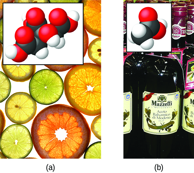 "This figure contains two images, each with an associated structural formula provided in the lower left corner of the image. The first image is a photograph of a variety of thinly sliced, circular cross sections of citrus fruits ranging in color for green to yellow, to orange and reddish-orange. The slices are closely packed on a white background. The structural formula with this picture shows a central chain of five C atoms. The leftmost C atom has an O atom double bonded above and to the left and a singly bonded O atom below and to the left. This single bonded O atom has an H atom indicated in red on its left side which is highlighted in pink. The second C atom moving to the right has H atoms bonded above and below. The third C atom has a single bonded O atom above which has an H atom on its right. This third C atom has a C atom bonded below it which has an O atom double bonded below and to the left and a singly bonded O atom below and to the right. An H atom appears in red and is highlighted in pink to the right of the singly bonded O atom. The fourth C atom has H atoms bonded above and below. The fifth C atom is at the right end of the structure. It has an O atom double bonded above and to the right and a singly bonded O atom below and to the right. This single bonded O atom has a red H atom on its right side which is highlighted in pink. The second image is a photograph of bottles of vinegar. The bottles are labeled, ""Balsamic Vinegar,"" and appear to be clear and colorless. The liquid in this bottle appears to be brown. The structural formula that appears with this image shows a chain of two C atoms. The leftmost C atom has H atoms bonded above, below, and to the left. The C atom on the right has a doubly bonded O atom above and to the right and a singly bonded O atom below and to the right. This O atom has an H atom bonded to its right which is highlighted in pink."