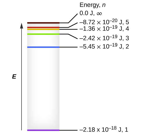 """The figure includes a diagram representing the relative energy levels of the quantum numbers of the hydrogen atom. An upward pointing arrow at the left of the diagram is labeled, """"E."""" A grey shaded vertically-oriented rectangle is placed just right of the arrow. The rectangle height matches the arrow length. Colored horizontal line segments are placed inside the rectangle and labels are placed to the right of the box and arranged in a column with the heading, """"Energy, n."""" At the very base of the rectangle, a purple horizontal line segment is drawn. A black line segment extends to the right to the label, """"negative 2.18 times 10 superscript negative 18 J, 1."""" At a level approximately three-quarters of the distance to the top of the rectangle, a blue horizontal line segment is drawn. A black line segment extends to the right to the label, """"negative 5.45 times 10 superscript negative 19 J, 2."""" At a level approximately seven-eighths the distance from the base of the rectangle, a green horizontal line segment is drawn. A black line segment extends to the right to the label, """"negative 2.42 times 10 superscript negative 19 J, 3."""" Just a short distance above this segment, an orange horizontal line segment is drawn. A black line segment extends to the right to the label, """"negative 1.36 times 10 superscript negative 19 J, 4."""" Just above this segment, a red horizontal line segment is drawn. A black line segment extends to the right to the label, """"negative 8.72 times 10 superscript negative 20 J, 5."""" Just a short distance above this segment, a brown horizontal line segment is drawn. A black line segment extends to the right to the label, """"0.00 J, infinity."""""""