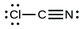 A Lewis structure shows a carbon atom that is triple bonded to a nitrogen atom that has one lone pair of electrons. The carbon is also single bonded to a chlorine atom that has three lone pairs of electrons.