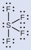 A Lewis diagram depicts a sulfur atom with one lone pair of electrons single bonded to four fluorine atoms, each with three lone pairs of electrons.
