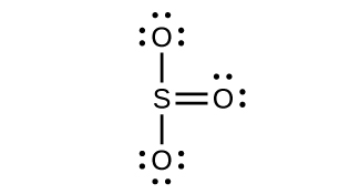 A Lewis structure of a sulfur atom singly bonded to two oxygen atoms, each with three lone pairs of electrons, and double bonded to a third oxygen atom with two lone pairs of electrons is shown.