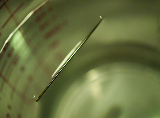 A photo shows a close-up, above-view, of a needle lying on the surface of a sample of water.