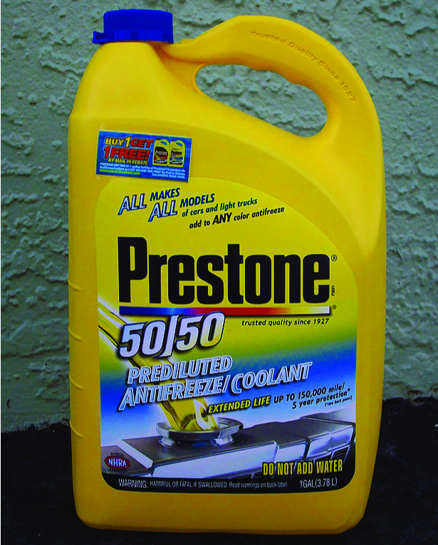 This is a photo of a 1 gallon yellow plastic jug of Preston 50/50 Prediluted Antifreeze/Coolant.