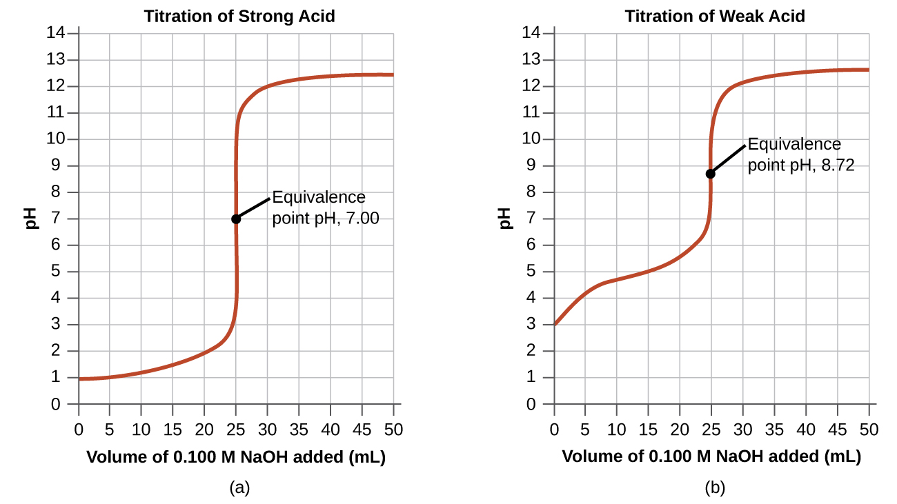 "Two graphs are shown. The first graph on the left is titled ""Titration of Weak Acid."" The horizontal axis is labeled ""Volume of 0.100 M N a O H added (m L)."" Markings and vertical gridlines are provided every 5 units from 0 to 50. The vertical axis is labeled ""p H"" and is marked every 1 unis beginning at 0 extending to 14. A red curve is drawn on the graph which increases steadily from the point (0, 3) up to about (20, 5.5) after which the graph has a vertical section from (25, 7) up to (25, 11). The graph then levels off to a value of about 12.5 from about 40 m L up to 50 m L. The midpoint of the vertical segment of the curve is labeled ""Equivalence point p H, 8.72."" The second graph on the right is titled ""Titration of Strong Acid."" The horizontal axis is labeled ""Volume of 0.100 M N a O H added (m L)."" Markings and vertical gridlines are provided every 5 units from 0 to 50. The vertical axis is labeled ""p H"" and is marked every 1 units beginning at 0 extending to 14. A red curve is drawn on the graph which increases gradually from the point (0, 1) up to about (22.5, 2.2) after which the graph has a vertical section from (25, 4) up to nearly (25, 11). The graph then levels off to a value of about 12.4 from about 40 m L up to 50 m L. The midpoint of the vertical segment of the curve is labeled ""Equivalence point p H, 7.00."""