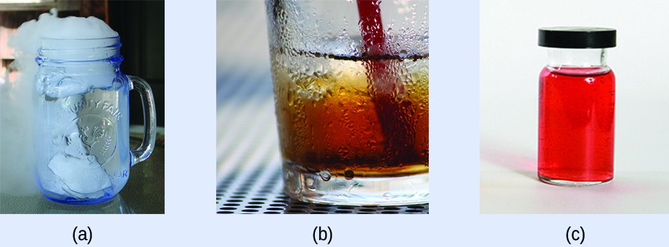"This figure has three photos labeled, ""a,"" ""b,"" and ""c."" Photo a shows a glass with a solid in water. There is steam or smoke coming from the top of the glass. Photo b shows the bottom half of a glass with water sticking to its outside surface. Photo c shows a sealed container that holds a red liquid."