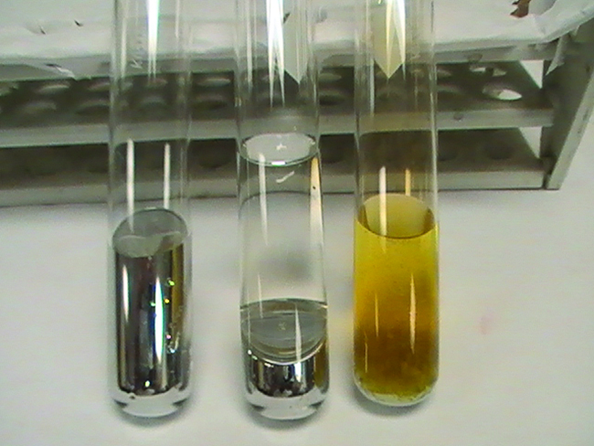 Three test tubes are shown in a photo. The left tube contains a metallic liquid. The middle tube contains a metallic liquid under a layer of clear, colorless liquid. The third tube contains a whitish solid under a layer of yellowish liquid.