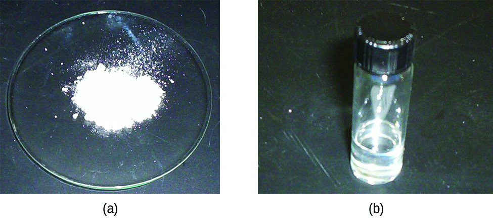 "Two photos are shown and labeled ""a"" and ""b."" Photo a shows a watch glass holding a fine, white powder. Photo b shows a sealed glass vial holding a clear, colorless liquid."