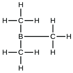 This Lewis structure is composed of a boron atom that is single bonded to three carbon atoms, each of which is single bonded to three hydrogen atoms.