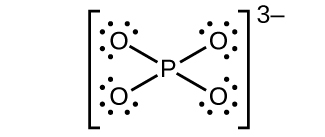 This Lewis structure shows a phosphorus atom single bonded to four oxygen atoms, each with three lone pairs of electrons. The structure is surrounded by brackets and has a superscript 3 negative sign outside the brackets.