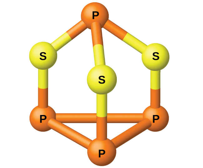 "A ball-and-stick model is shown. Three orange atoms labeled ""P"" are single bonded together in a triangle shape. Each ""P"" is single bonded to yellow atoms labeled ""S,"" which are each single bonded to one other orange atom labeled ""P."""