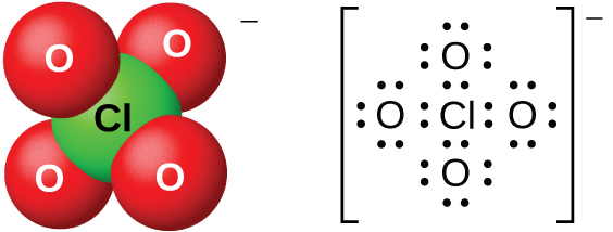 "Two models of molecules are shown, both with a superscript negative sign. The left molecule shows a space-filling model with a green atom labeled, ""C l,"" bonded to four red atoms labeled, ""O."" The right molecule is a Lewis structure of a chlorine atom surrounded by four oxygen atoms, each with four lone pairs of electrons. The Lewis structure is surrounded by brackets, and the superscript negative sign appears outside the brackets."