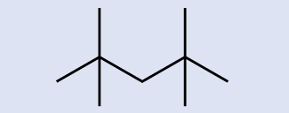 A skeleton model is shown with a zig zag pattern that rises, falls, rises, and falls again left to right through the center of the molecule. From the two risen points, line segments extend both up and down, creating four branches.