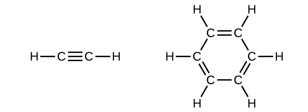 Two structural formulas are shown. The first shows two C atoms with a triple bond between them. At each end of the structure, a single H atom is bonded. The second structure involves a hydrocarbon ring of 6 C atoms with a circle at the center. There are alternating double bonds between C atoms. Each C atom is bonded to a single H atom.