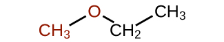A molecular structure is shown with a red C H subscript 3 group bonded up and to the right to a red O atom. The O atom is bonded down and to the right to a C H subscript 2 group. The C H subscript 2 group is bonded up and to the right to a C H subscript 3 group.