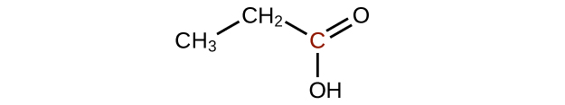 A molecular structure is shown with a C H subscript 3 group bonded up and to the right to a C H subscript 2 group which is bonded down and to the left to a C atom. This C atom appears in red. The C atom forms a double bond with an O atom up and to the right. The C atom also forms a single bond with an O H group directly below it.