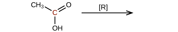 The left side of a reaction and arrow are shown. The arrow is labeled with an R in brackets. To the left of the arrow is a molecular structure which shows a central, red C atom which is bonded to a C H subscript 3 group, and O H group, and forms a double bond with an O atom.