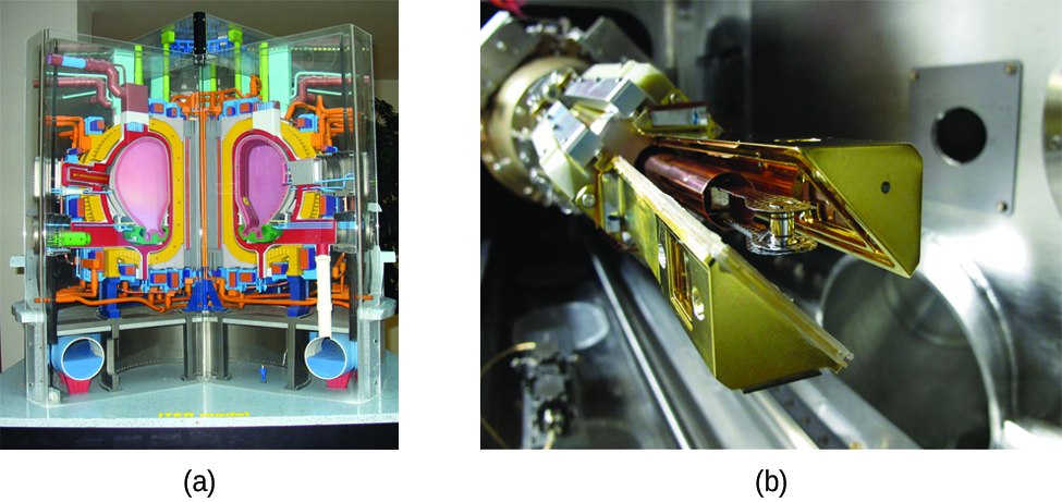 "Two photos are shown and labeled ""a"" and ""b."" Photo a shows a model of the ITER reactor made up of colorful components. Photo b shows a close-up view of the end of a long, mechanical arm made up of many metal components."