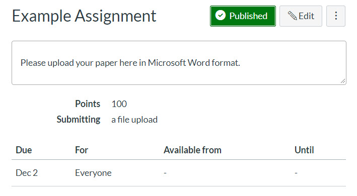 assignment view showing publish and edit buttons