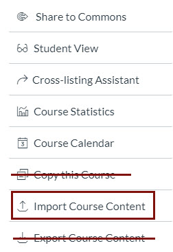 button list in Canvas settings with Copy this Course and Export Course content marked out and Import Course Content circled