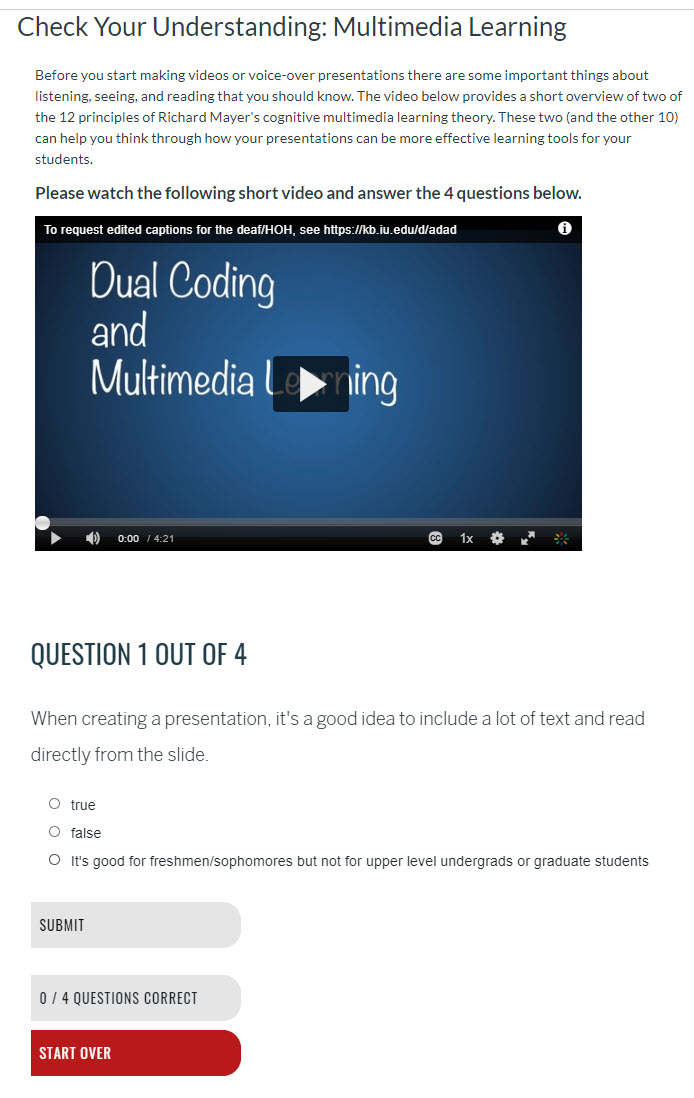a page with instructions and a video followed by the first of 4 questions