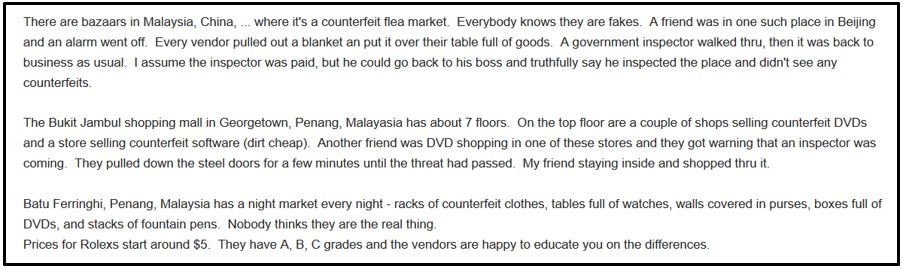 Figure shows a forum comment detailing the shadow economy in cities. Bazaars and malls in Malaysia openly sell counterfeit goods, only stopping to close when an inspector walks by.