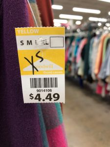The price of an XS shirt, $4.49