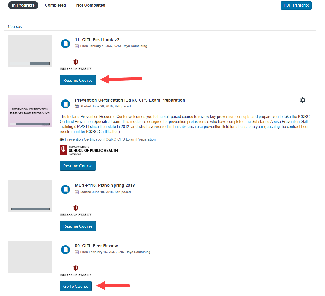 Screenshot of courses under the IN Progress tab on the Student Dashboard with arrows highlighting the Resume Course and Go To Course buttons